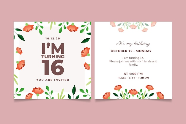 Tema de convite de aniversário elegante