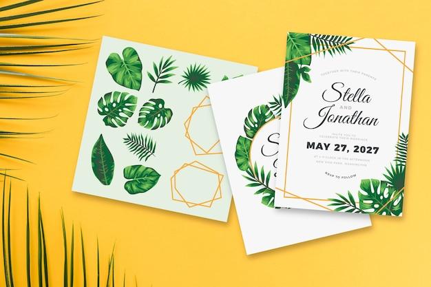 Tema de convite de casamento com folhas