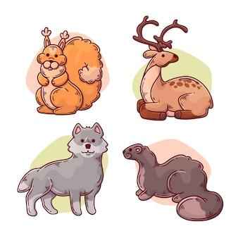 Tema de desenho de animais da floresta de outono