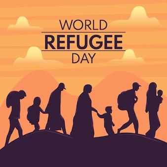 Tema de desenho ilustrado dia mundial dos refugiados