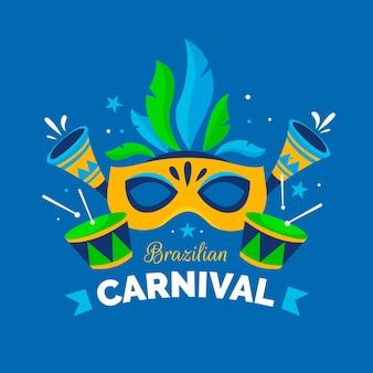 Tema de design plano para carnaval brasileiro
