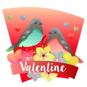 Tema de dia dos namorados com pássaro casal colorido Vetor Premium