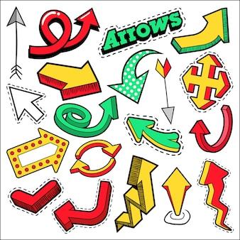Tema de emblemas, patches, setas adesivos de moda. setas diferentes no estilo cômico. ilustração Vetor Premium
