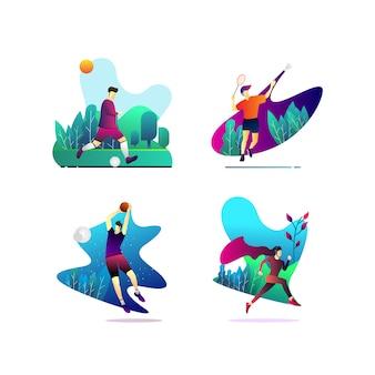 Tema de esportes de ilustração da ui & ux designer