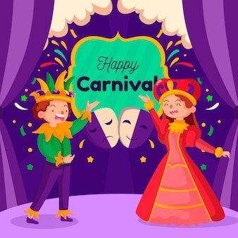 Tema de evento de festa de carnaval de design plano