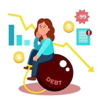 Tema de falência de ilustração
