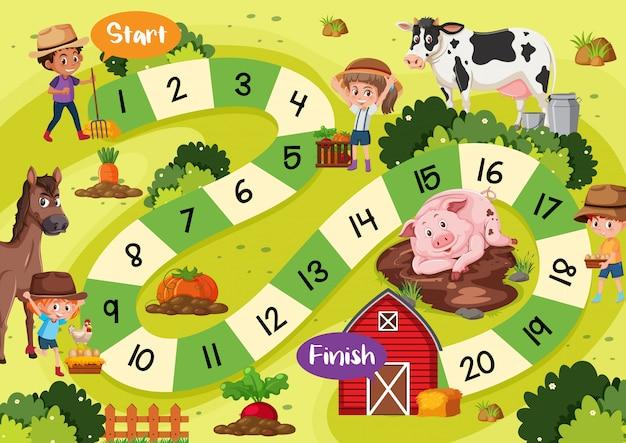 Tema de fazenda de modelo de jogo de tabuleiro