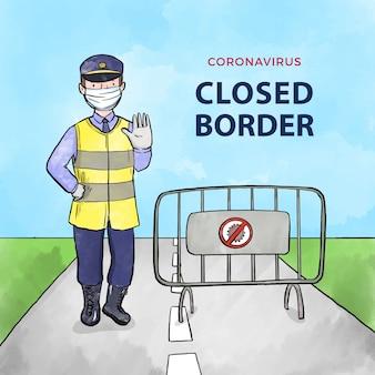 Tema de fechamento de fronteira com coronavírus