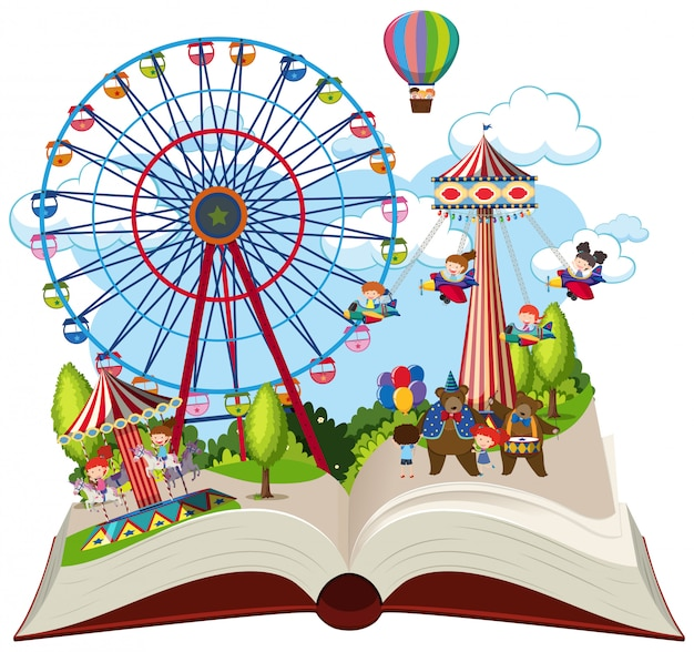Tema de feira de livro aberto Vetor Premium