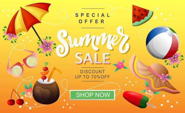 Tema de férias de praia com banner de venda de verão
