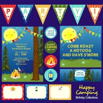 Tema de festa de aniversário feliz camping