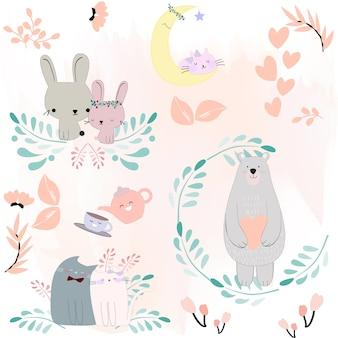 Tema de flor de primavera animal bonito dos desenhos animados