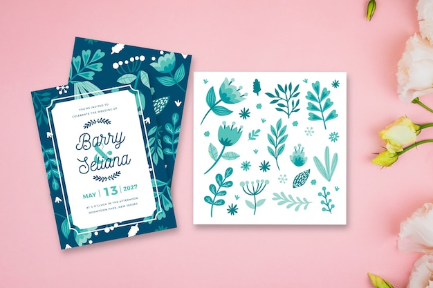 Tema de folhas para convite de casamento