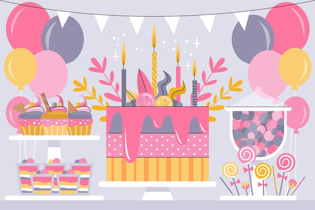 Tema de fundo de aniversário colorido