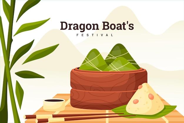 Tema de fundo de barcos de dragão zongzi