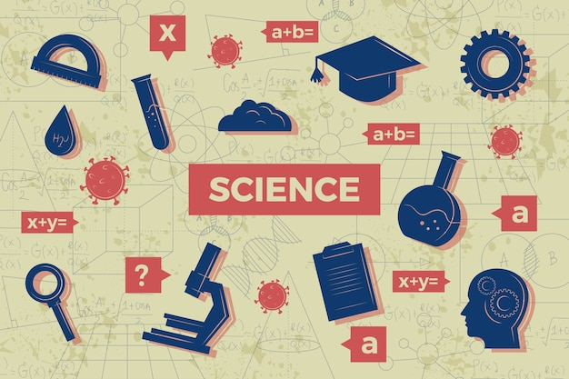 Tema de fundo de educação científica vintage
