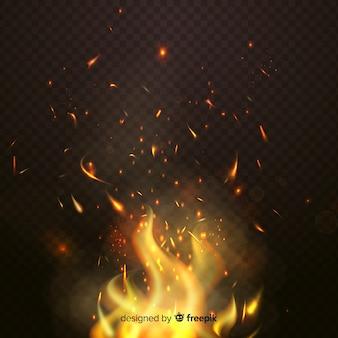 Tema de fundo de efeito de faíscas de fogo