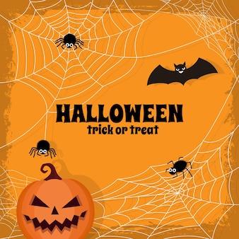 Tema de fundo de teia de aranha feliz de halloween