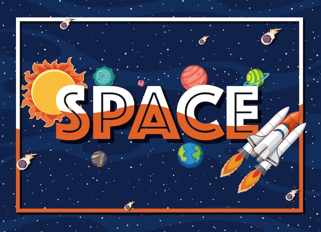 Tema de fundo do espaço com nave espacial e muitos planetas