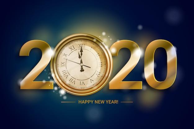 Tema de fundo do relógio do ano novo de 2020