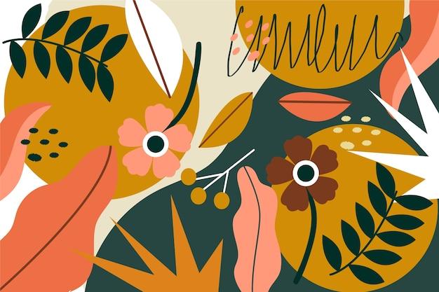 Tema de fundo floral abstrato design plano