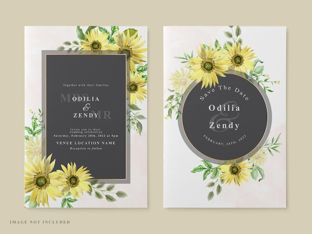 Tema de girassol para modelo de cartão de convite de casamento Vetor Premium