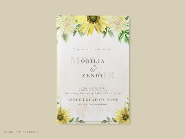 Tema de girassol para modelo de cartão de convite de casamento