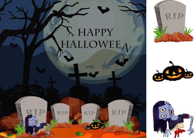 Tema de halloween com zumbi no cemitério