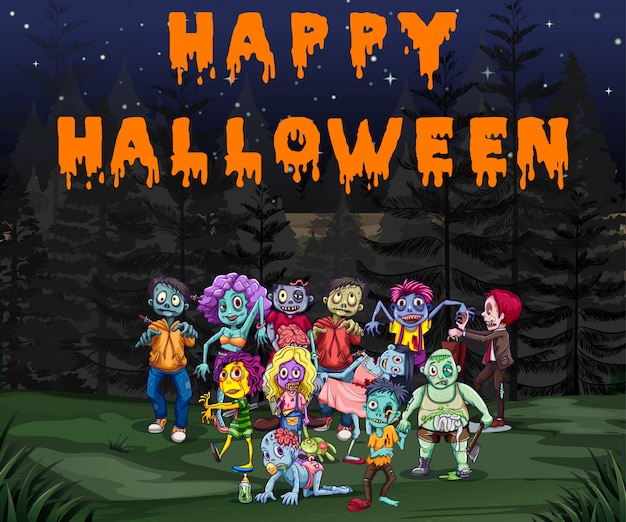Tema de halloween com zumbis no parque