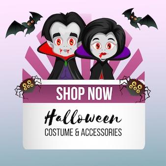 Tema de halloween para loja com vampiro casal de drácula