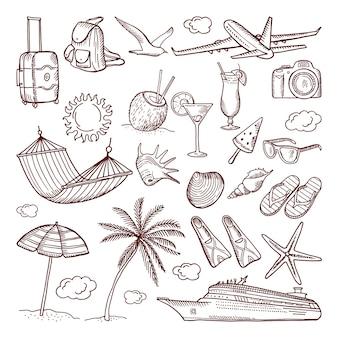 Tema de horário de verão desenhado em estilo mão. conjunto de ícones de rabiscos. coleção de ilustração de ícones desenhados à mão no verão