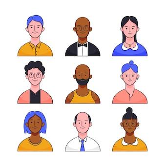 Tema de ilustração com avatares de pessoas