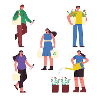 Tema de ilustração com pessoas de estilo de vida verde