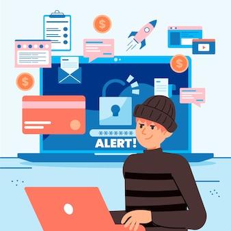 Tema de ilustração de atividade de hacker