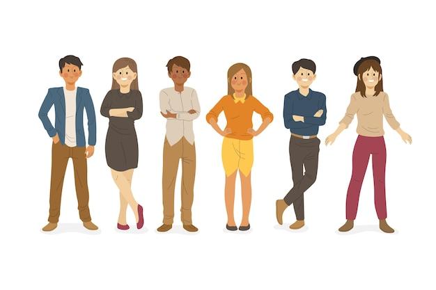 Tema de ilustração de coleção de pessoas confiantes