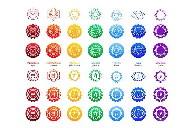 Tema de ilustração de conjunto de chakras