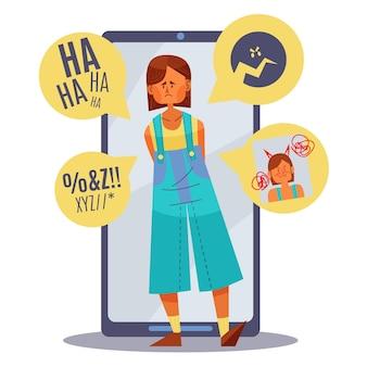 Tema de ilustração de cyber bullying
