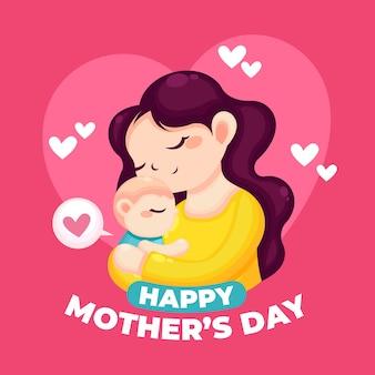 Tema de ilustração de dia das mães
