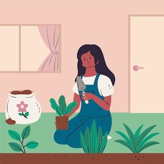 Tema de ilustração de jardinagem em casa