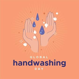Tema de ilustração do dia global da lavagem das mãos