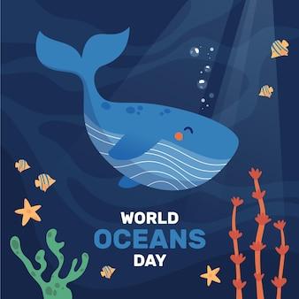 Tema de ilustração do dia mundial dos oceanos