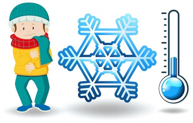 Tema de inverno com homem em roupas de inverno
