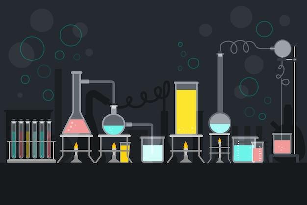 Tema de laboratório de ciências de design plano
