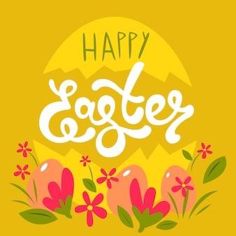 Tema de letras desenhadas à mão feliz páscoa