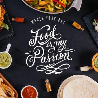 Tema de letras do evento do dia mundial da alimentação
