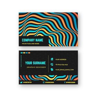 Tema de linhas distorcidas para design de cartão de visita
