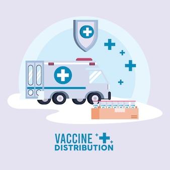 Tema de logística de distribuição de vacinas com ilustração de ambulância e frascos em caixa de papelão