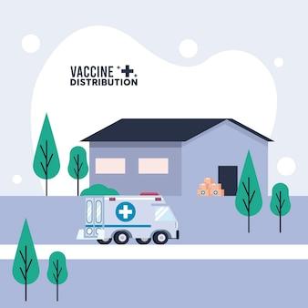 Tema de logística de distribuição de vacinas com ilustração de armazém e ambulância