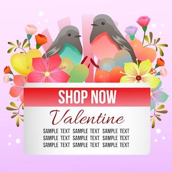 Tema de loja dos namorados com pássaro casal Vetor Premium