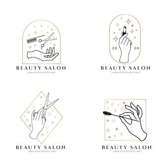Tema de luxo do logotipo elegante do salão de beleza da mão